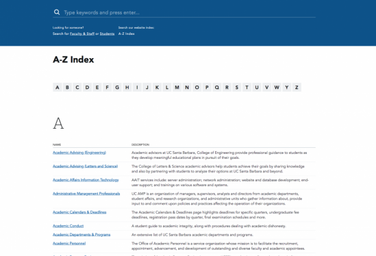 UCSB.edu redesign screen grab of A to Z index