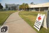 Red Cross shelter sign outside UCSB's MAC facility